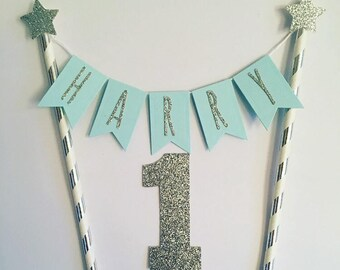 Custom Boys Birthday Cake Topper Personalised Bunting Blue And Silver Personalized Name