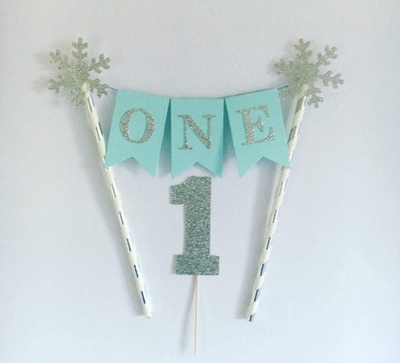 First Birthday Cake Topper Blue And Silver Bunting Winter