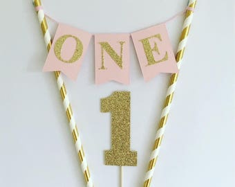Girls First Birthday Cake Topper 1st Birthday Cake Bunting 1st Birthday Topper Pink and Gold Decorations Cake Banner Baby Girl 1st Birthday