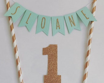Handmade Custom Personalised Personalized Rose Gold And Mint Cake Topper Cake Bunting Rose Gold Glitter Cake Topper Customisable Girl 1st