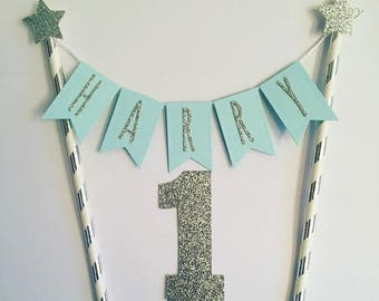 Custom Boys Birthday Cake Topper Boys Personalised Cake Bunting Blue And Silver  Personalized Cake Topper Name Cake Topper Silver And Blue