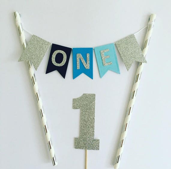 First Birthday Cake Topper 1st Bunting Boys