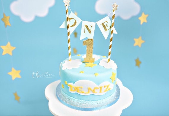 Boys 1st Birthday Cake Topper Baby Boy Is One Blue And Gold Etsy