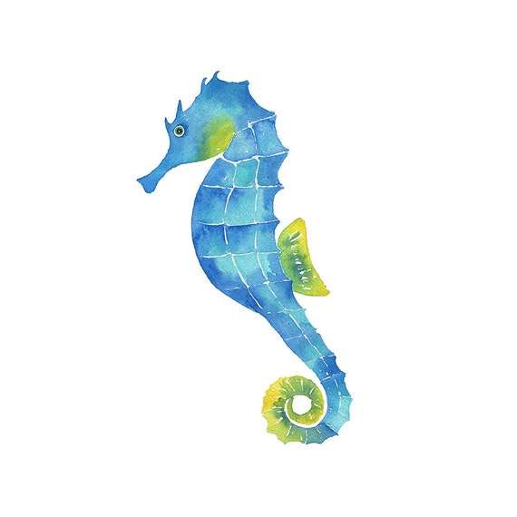 watercolor seahorse clipart painting print hand painted etsy rh etsy com sea horse clipart outline seahorse clip art blue