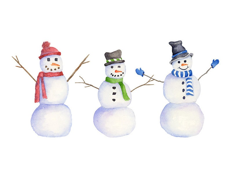 Watercolor Snowman Clipart PNG Instant Download Hand Painted image 0