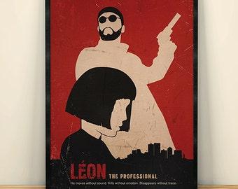 Leon Luc Besson Minimalist Movie Poster, Movie Art, Vintage Movie poster