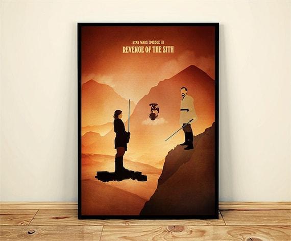 Vintage Star Wars Episode 3 Minimalist Movie Poster Revenge Etsy