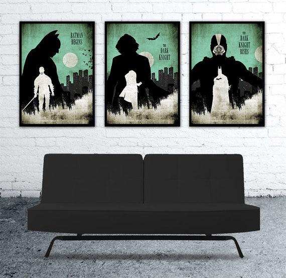 Pleasing Batman Trilogy Christopher Nolan Minimalist Movie Poster Set Batman Begins The Dark Knight The Dark Knight Rises Evergreenethics Interior Chair Design Evergreenethicsorg