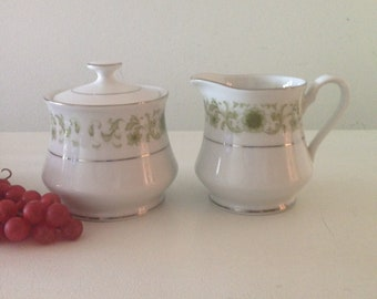 Towne House Creamer and Sugar Bowl Pattern Green Dale #3077 Scrolls Vintage