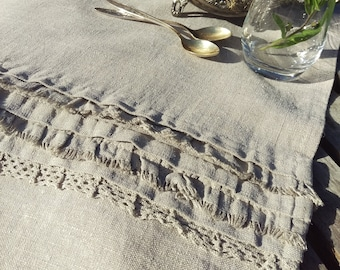 Rustic linen table runner / ruffled linen runner / farmhouse table runner / rough linen runner / shabby chic table runner / linen runner