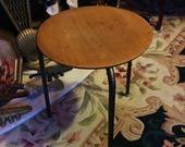 VINTAGE TEAK STOOL by Arne Jacobsen of 3 Leg Round Dot Design Scandinavian Furniture Made in Denmark Danish Modern Mid Century Home Decor