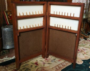 Unique Vintage Sewing Box, Large Portable Folding Sewing Notions Cabinet, Wood Framed Sewing Storage Case, Crafting Thread & Scissors Holder