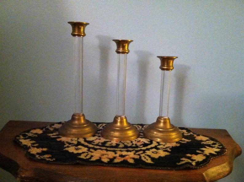 Vintage Candleholder Set of 3 Brass /& Lucite Graduated Pillar Candlestick Holder Collectible Hollywood Regency Home Decor Mid Century Modern
