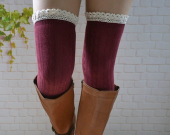 a601ff58c6f Wine red Knee High Boot Socks ,thigh high socks