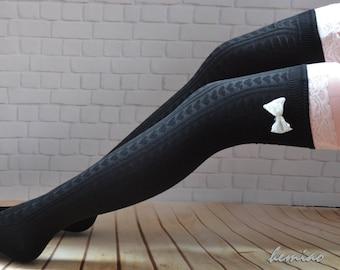 SALE Lace and bow  thigh high  socks,  long stockings, over the knee socks, lace long  socks ,girls leg warmers, grey ,black  , brown socks.