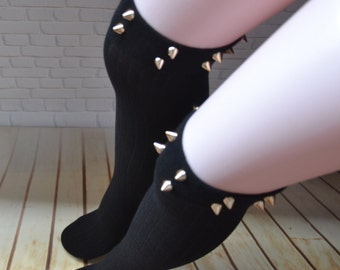 871732d07e13b SALE Spiked knee high boot socks ,studded socks , studdes Thigh High socks  ,over the knee socks with the rivets