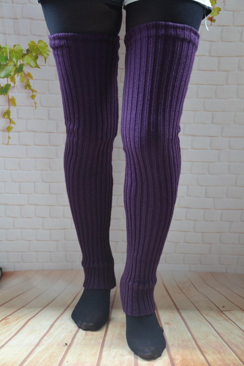 d14c55b42d5 27 in long womens Leg Warmers PURPLE Knit thigh high leg