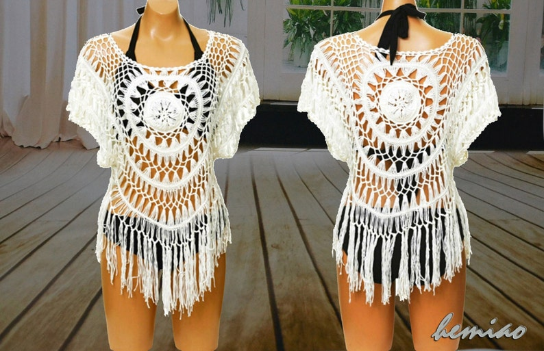 ce3a104a8e Free shipping Crochet beach top Boho Fringe Topcrochet | Etsy