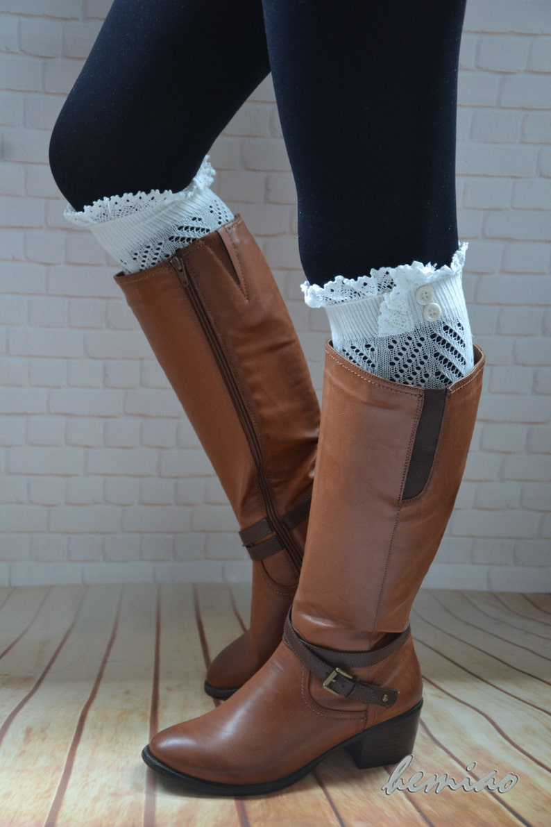 0c01ddb80fd Lace butttons Boot Cuffs Womens Lace Boot Socks Over the