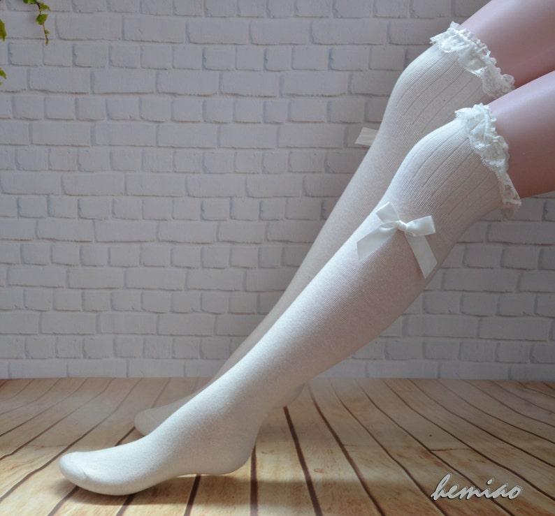 d5b0f8194 White lace top bow socks thigh high socks Knee high socks