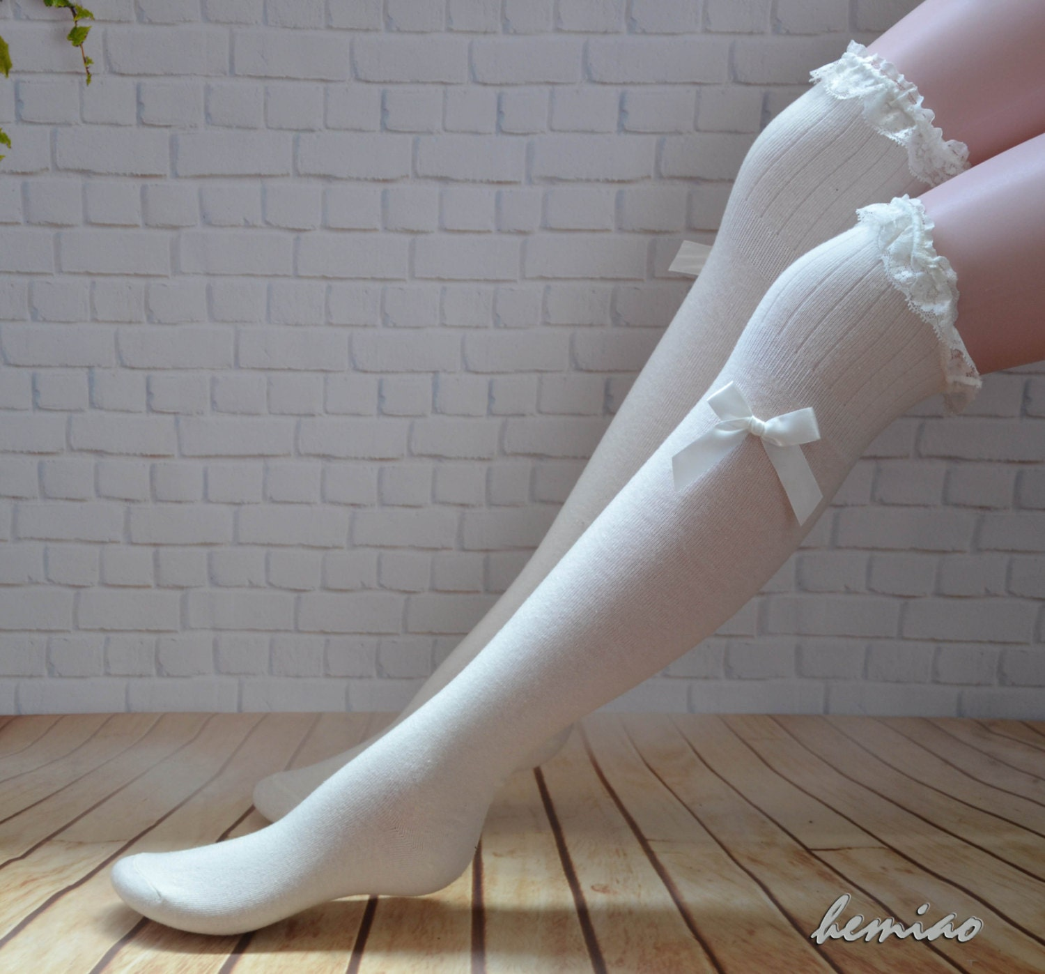 ce05a9e14 White lace top bow socks thigh high socks Knee high socks