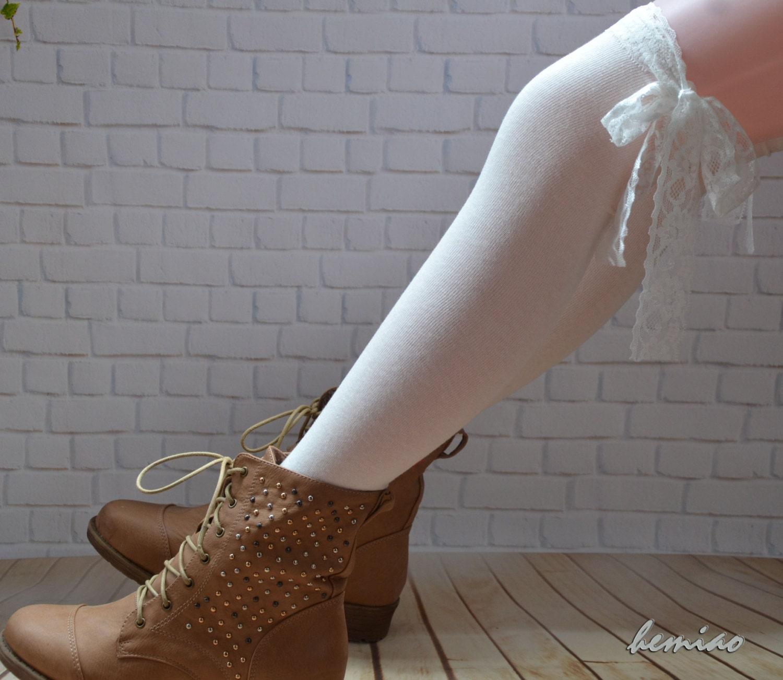 jarreti re dentelle blanche chaussettes haute de genou genou. Black Bedroom Furniture Sets. Home Design Ideas
