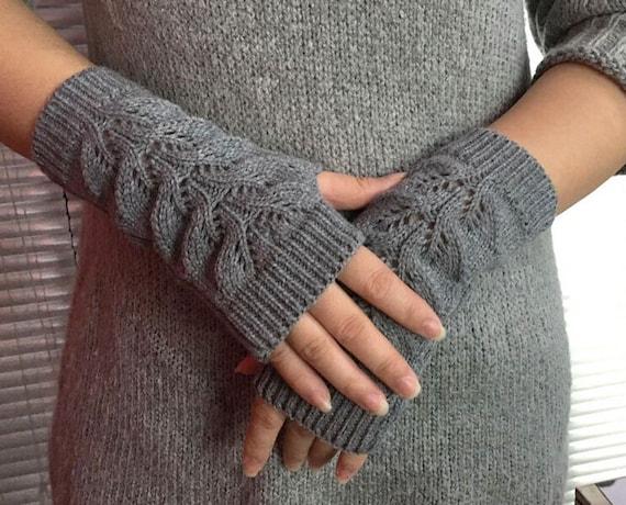 Hand stricken Wolle fingerlose Handschuhe Frauen grau Wolle   Etsy