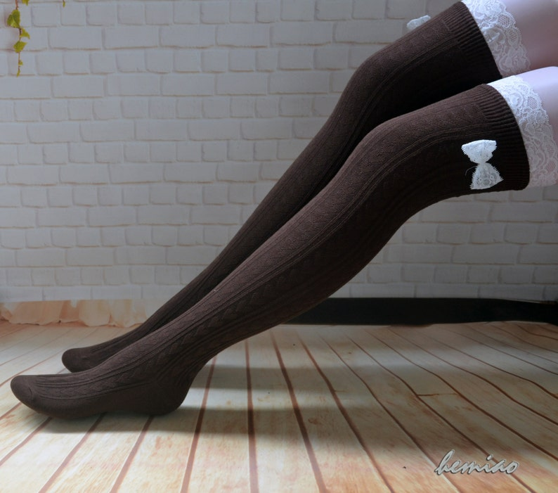 35ef36ea7 Brown lace boot socks Lace and bow thigh high socks over