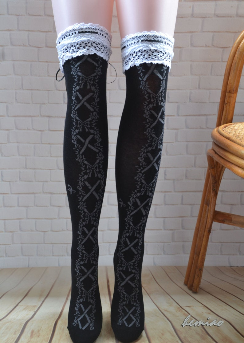 35f1b955b69 Sexy thigh high black lace socks over the knee leg