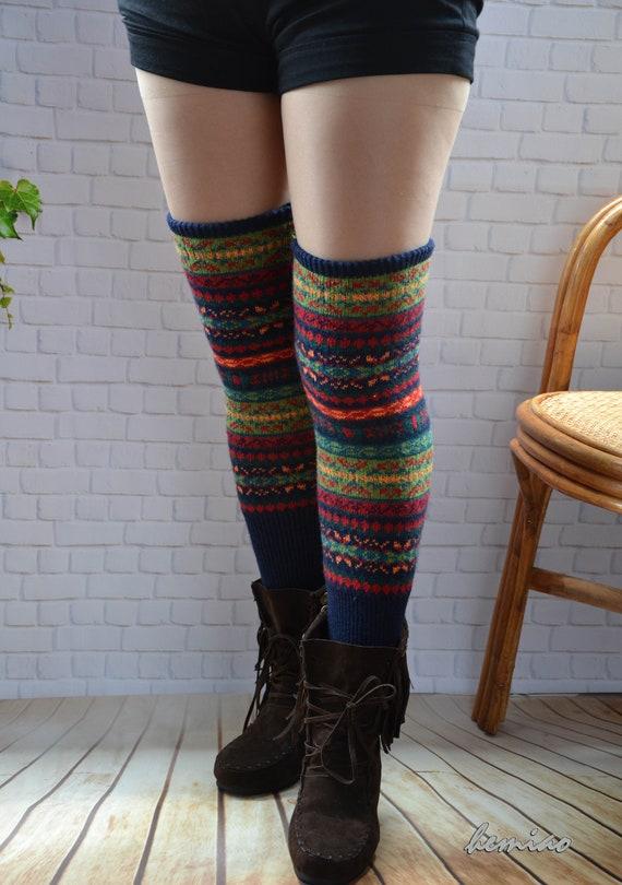 Black Women/'s Chunk Winter Warm Knitted Crochet Leg Warmer Socks