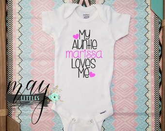 c166fbef2 Custom I love My Aunt - My Auntie Loves Me - Auntie Bodysuit - Personalized  Jumper