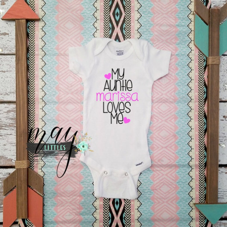 2251d3be2 Custom I love My Aunt My Auntie Loves Me Auntie Bodysuit | Etsy