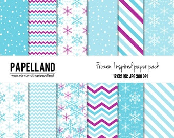 """Frozen inspired digital paper pack """"FROZEN PAPER"""" scrapbooking, invites, cards 12x12 inch, comercial use ok, instant download"""