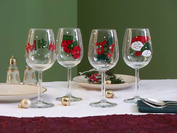 Hand Painted Christmas Wine Glasses Painted Christmas Wine Glasses Gift Set Of Four Great Wine Lovers Gift Personalized Free