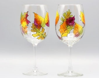Painted Fall Leaves Wine Glasses, Painted Wine Gasses, Fall Leaves in Vibrant Color, Gorgeous Fall Wine Glasses, Great Fall Gift, Set of Two