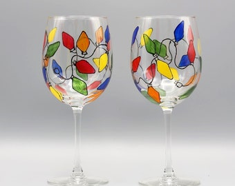 Painted Christmas Lights Wine Glasses, Painted Christmas Wine Glasses, Colorful Christmas Lights Design, Painted Wine Glasses. Set of Two