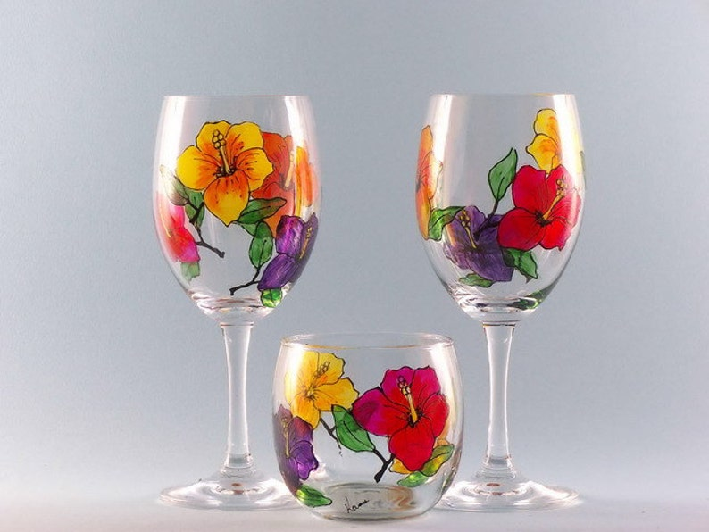 Hand Painted Hibiscus Wine Glasses With Votive Holder Wine Etsy