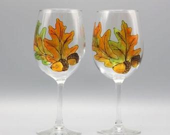 Painted Fall Wine Glasses, Beautiful Oak Leaves Design, Fall Stemless Wine Glasses, Hand Painted Wine Glasses, Set of Two