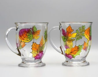 Painted Fall Leaves Mugs, Colorful Fall Leaves Design, Personalized Fall Mugs, Fall Gifts, Set of Two