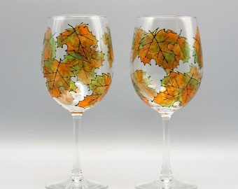 Painted Fall Wine Glasses, Painted Wine Glasses, Fall Stemless Wine Glasses, Beautiful Maple Leaf Design, Wine Lover Gifts, Set of Two