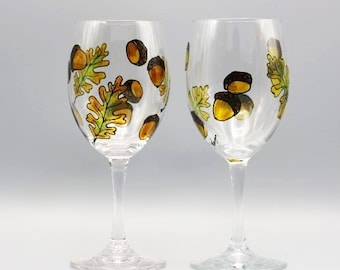 Painted Fall Wine Glasses, Beautiful Fall Design, Natures Own Acorn Design, Gifts For Fall Lovers, Fall Hostess Gift, Set Of Two