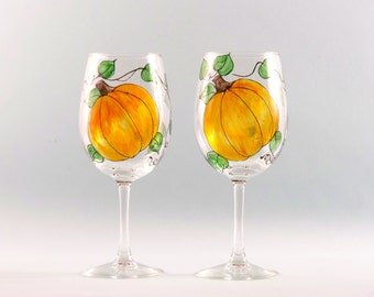 Painted Pumpkin Wine Glasses, Pumpkin and Vine Design, Great Thanksgiving Hostess Gift, Set of Two
