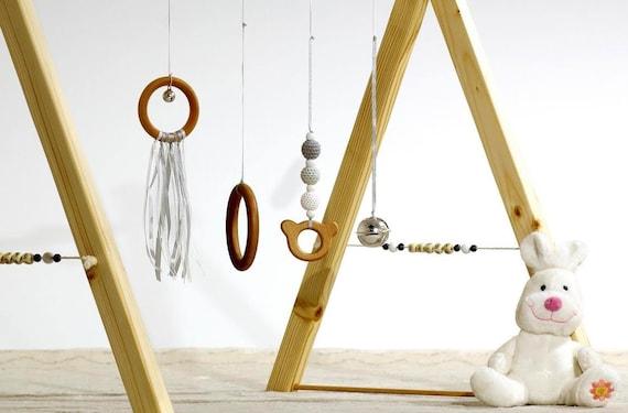 Portique Déveil Ou Baby Gym Montessori En Version Noir Et