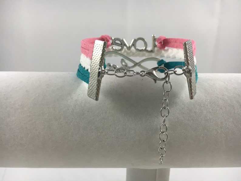 Teal and White Fauc Suede Awareness Bracelet! Hereditary Breast Cancer Pink