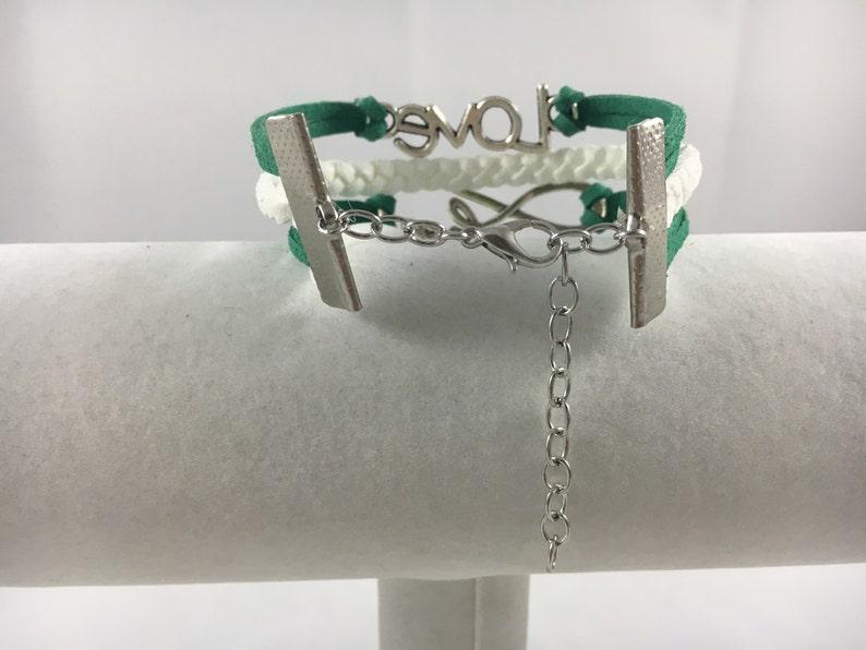 Tourettes Green and White Multi-Strand Suede Awareness Bracelet Bipolar Glaucoma Manic Gastroschisis Cerebral Palsy Depression Mental