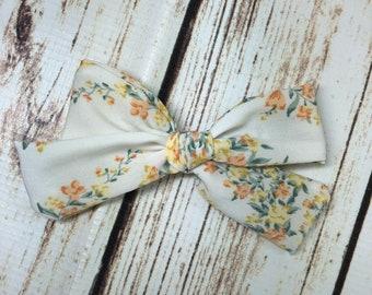Vintage sunkissed floral bow - hair bow - girls bows - alligator clip - nylon headband