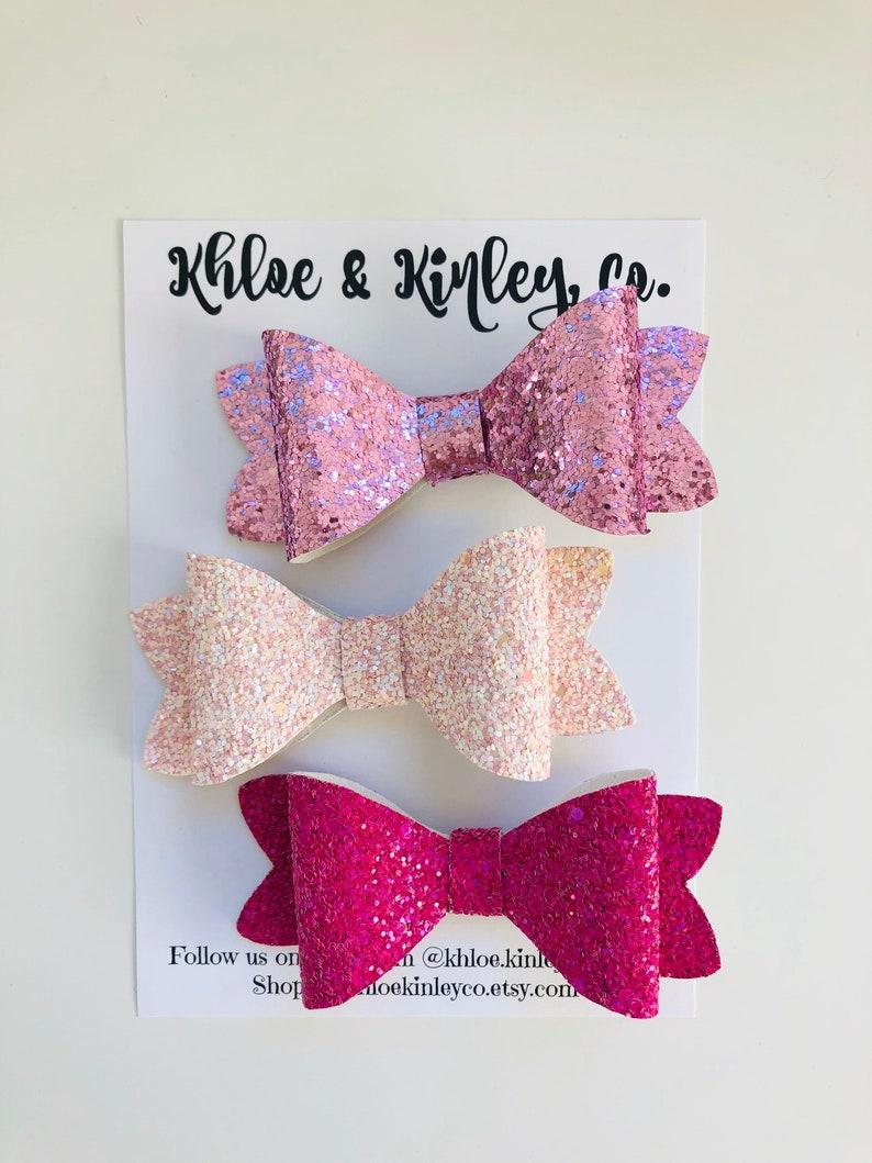 nylon headbands Sparkly glitter bows hair bows alligator clips