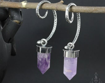 Stunning snakes and Amethyst point earweights , Handmade BO0049
