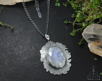 Bridal necklace - Rainbow moonstone necklace - Bird and flower necklace - Boho necklace - Sterling silver necklace - Handmade C0020