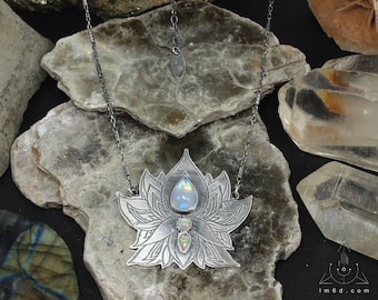 Lotus and Opal necklace - Handmade C0210